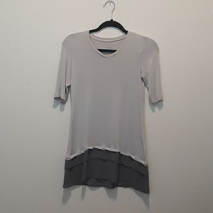LOGO V neck Rayon Sheer Tiered  Elbow Sleeve Top